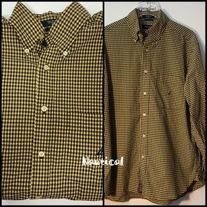 Nautica Black & Yellow Checked Shirt Size Medium